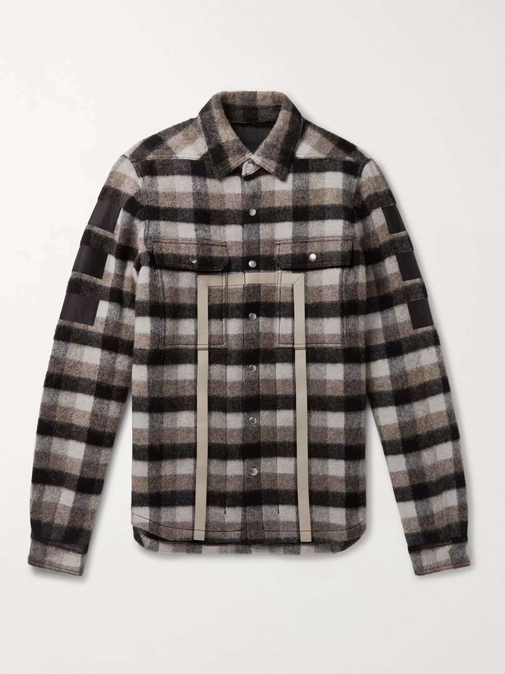 Webbing Trimmed Checked Virgin Wool Shirt Jacket by Rick Owens