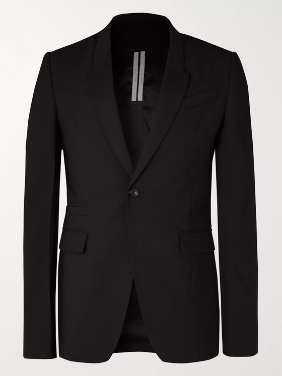Rick Owens Black Slim-Fit Wool Blazer