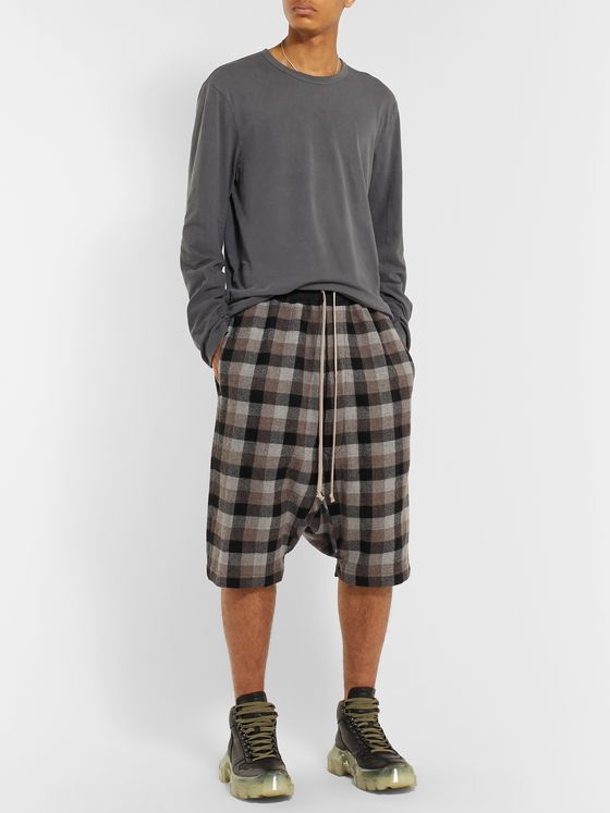 Rick Owens Pod Poplin-Trimmed Checked Virgin Wool Shorts