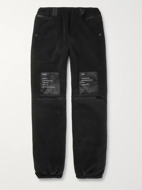 TAKAHIROMIYASHITA TheSoloist. Tapered Printed Satin-Trimmed Fleece Track Pants