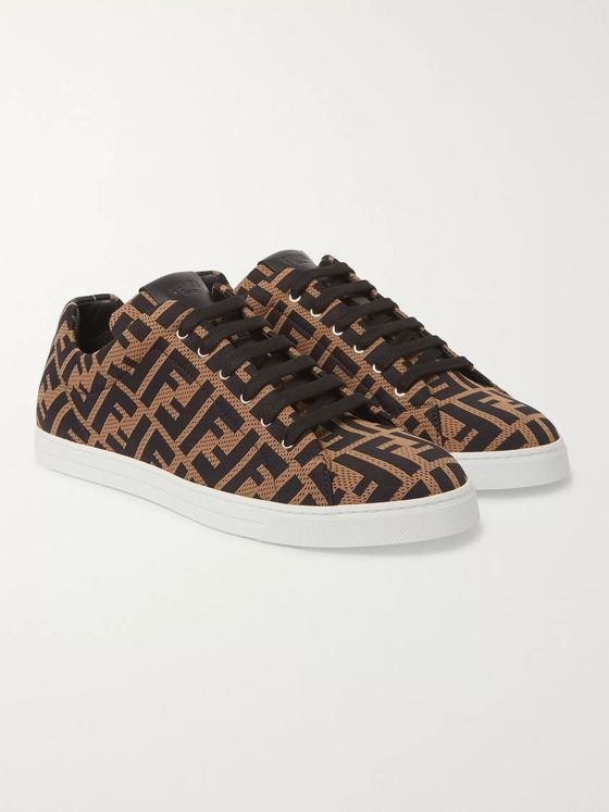 Fendi Leather-Trimmed Logo-Jacquard Mesh Sneakers