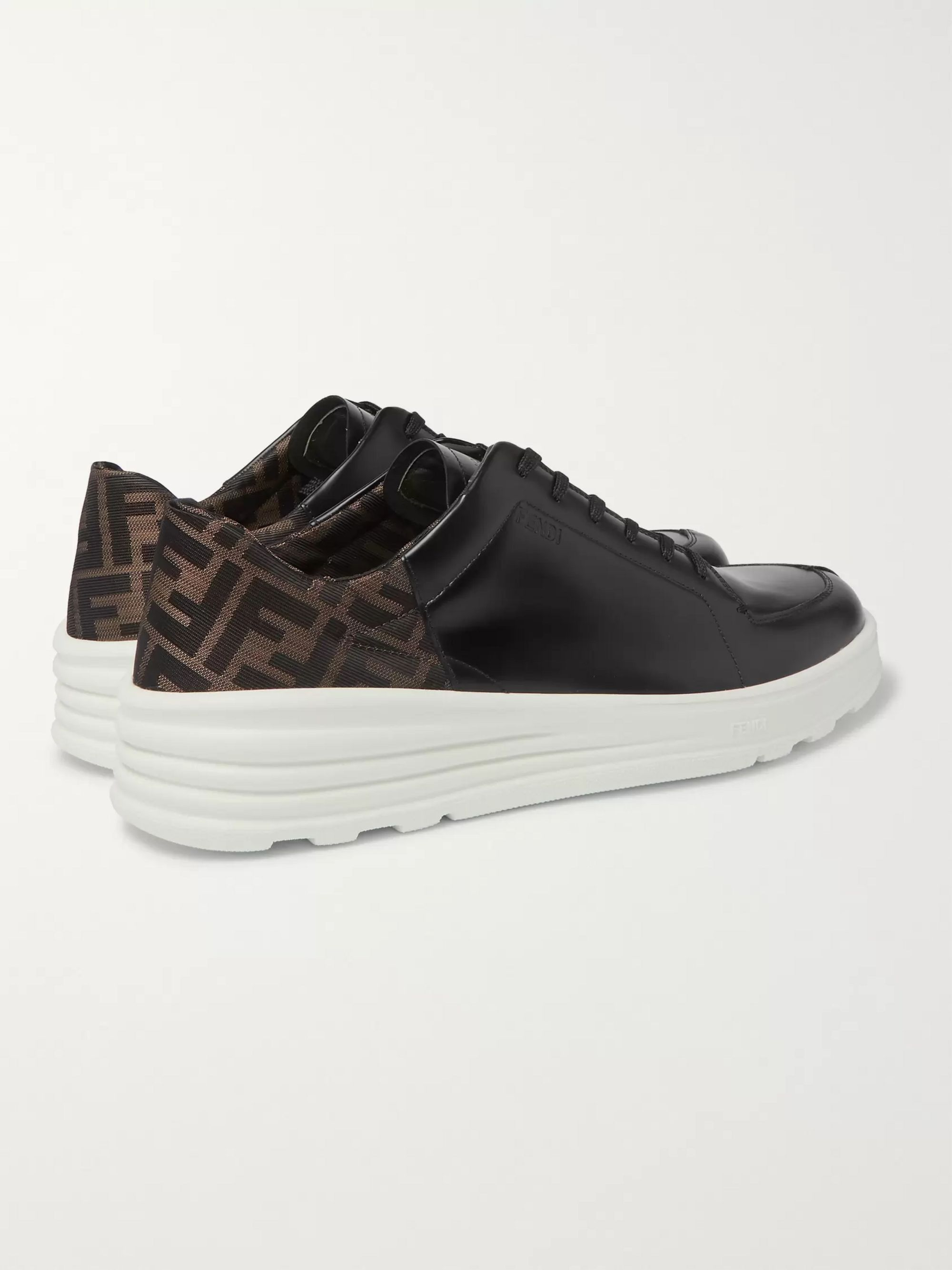 Fendi Logo-Jacquard Leather Sneakers