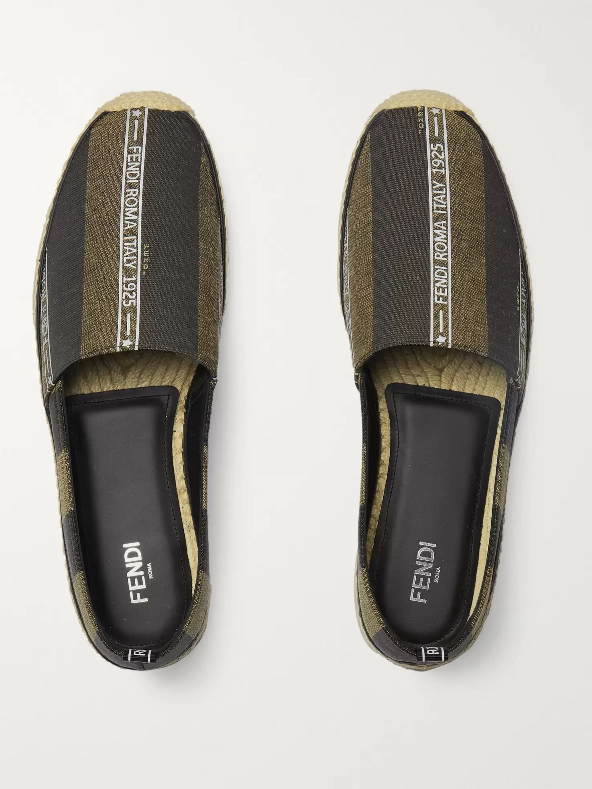 Fendi Reflective Logo-Trimmed Striped Canvas Espadrilles
