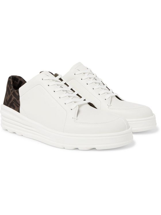 Fendi Logo-Print Webbing and Leather Sneakers