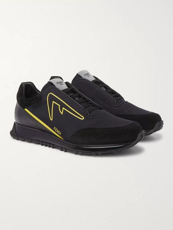 Fendi Suede and Leather-Trimmed Neoprene Sneakers