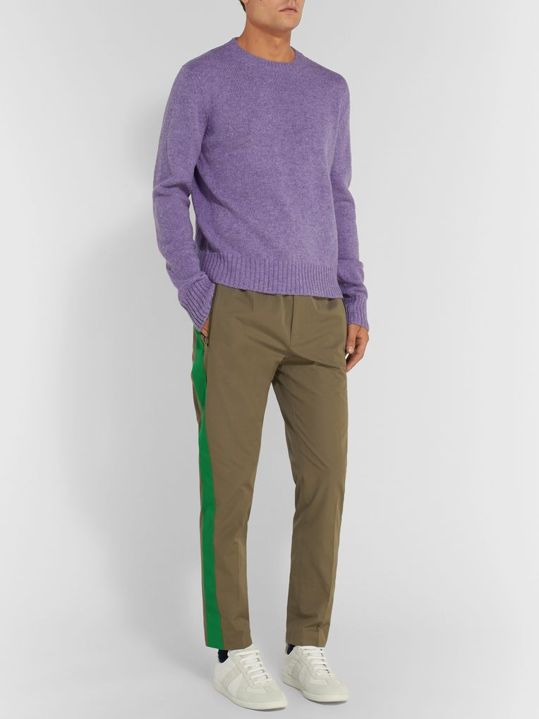 Stella McCartney Slim-Fit Wool Twill-Trimmed Cotton Drawstring Trousers