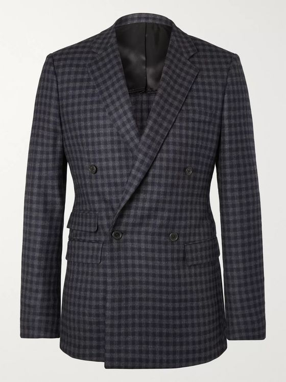 Stella McCartney Holden Grey Double-Breasted Checked Virgin Wool-Blend Blazer