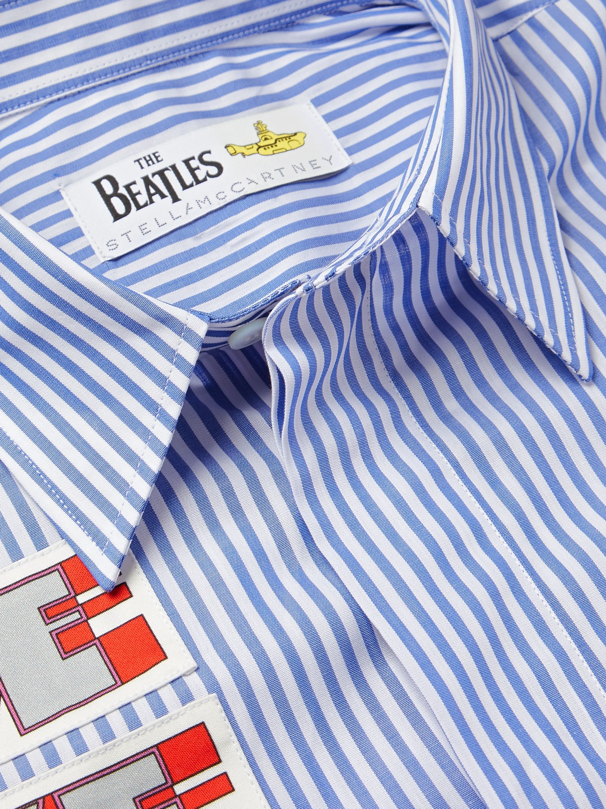 Stella McCartney + The Beatles Appliquéd Striped Cotton-Poplin Shirt