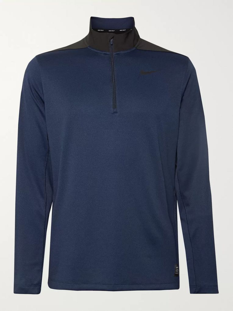 Nike Golf Stretch Mesh-Panelled Dri-FIT Half-Zip Golf Top