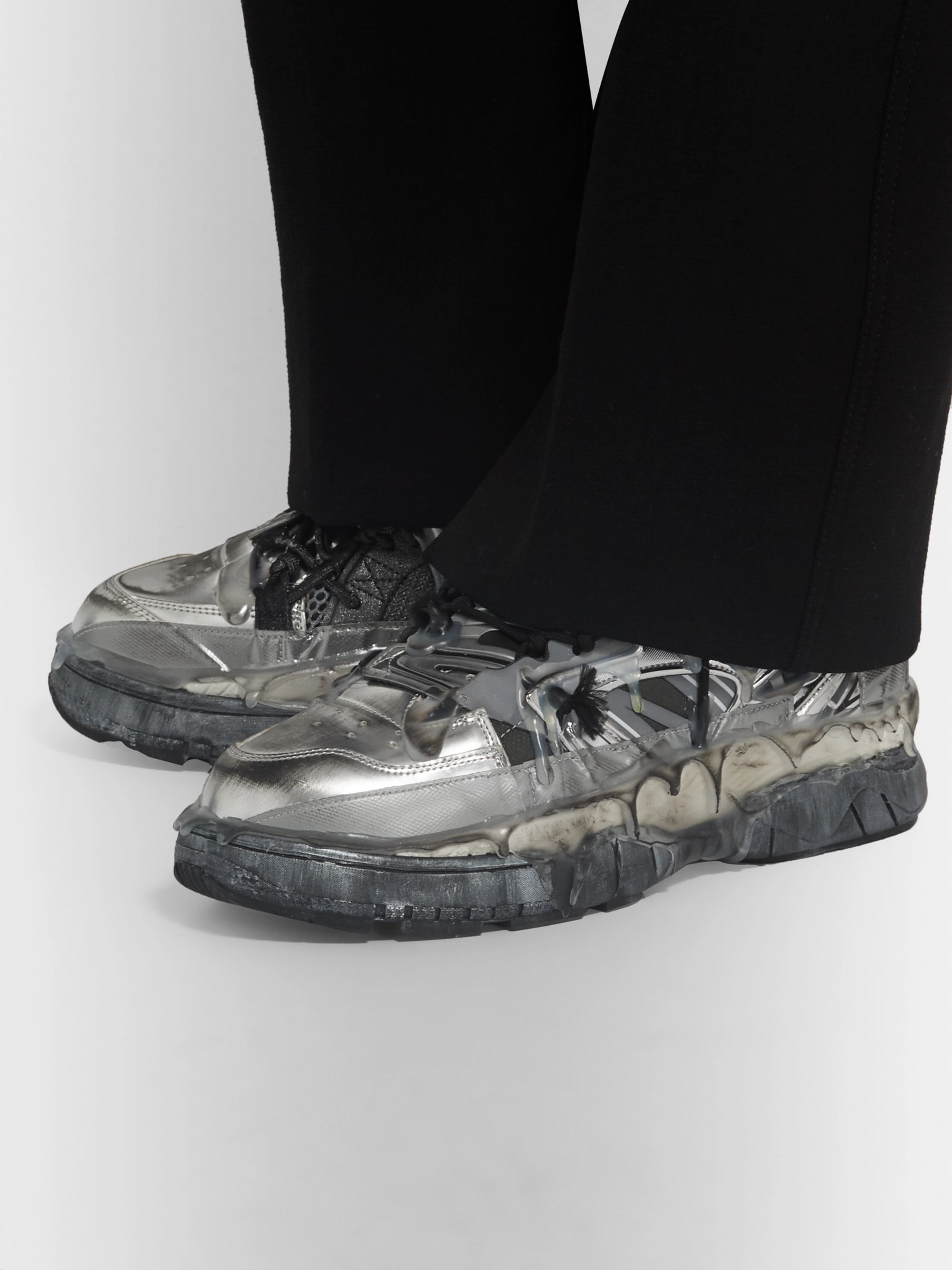 Maison Margiela Fusion Distressed Leather, Mesh and Rubber Sneakers