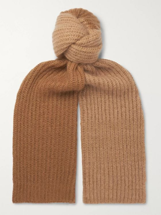 Mr P. Colour-Block Ribbed Wool-Blend and Mohair-Blend Scarf
