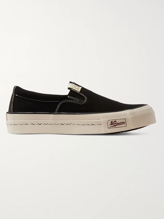 visvim Skagway Leather-Trimmed Canvas Slip-on Sneakers