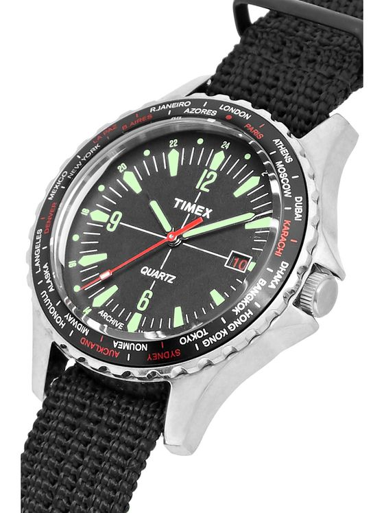 Timex Navi World Time Stainless Steel and Nylon-Webbing Watch