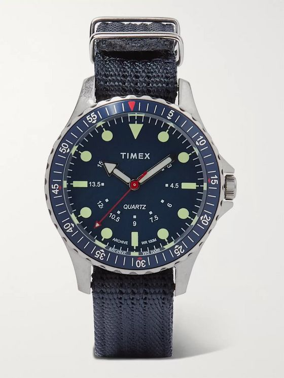 Timex Navi Depth Stainless Steel and Nylon-Webbing Watch