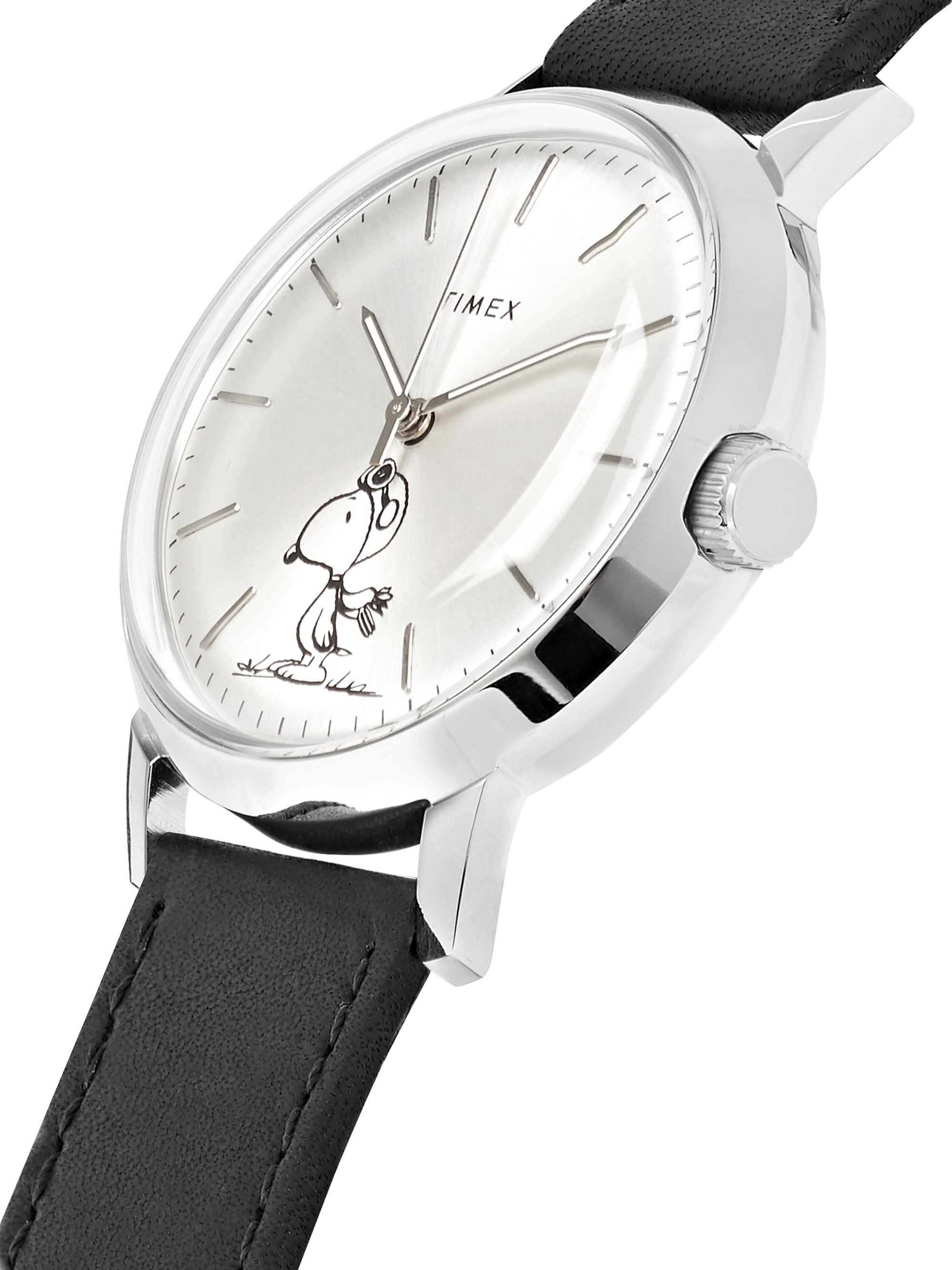 Timex + Peanuts Marlin Automatic Stainless Steel and Leather Watch
