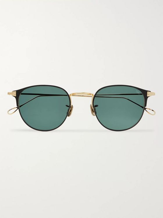 Eyevan 7285 Round-Frame Acetate and Gold-Tone Titanium Sunglasses