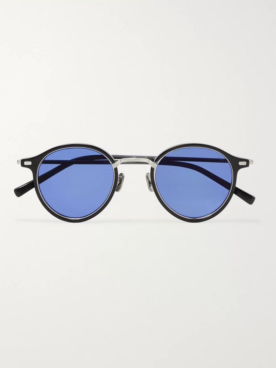 Eyevan 7285 Round-Frame Acetate and Titanium Sunglasses