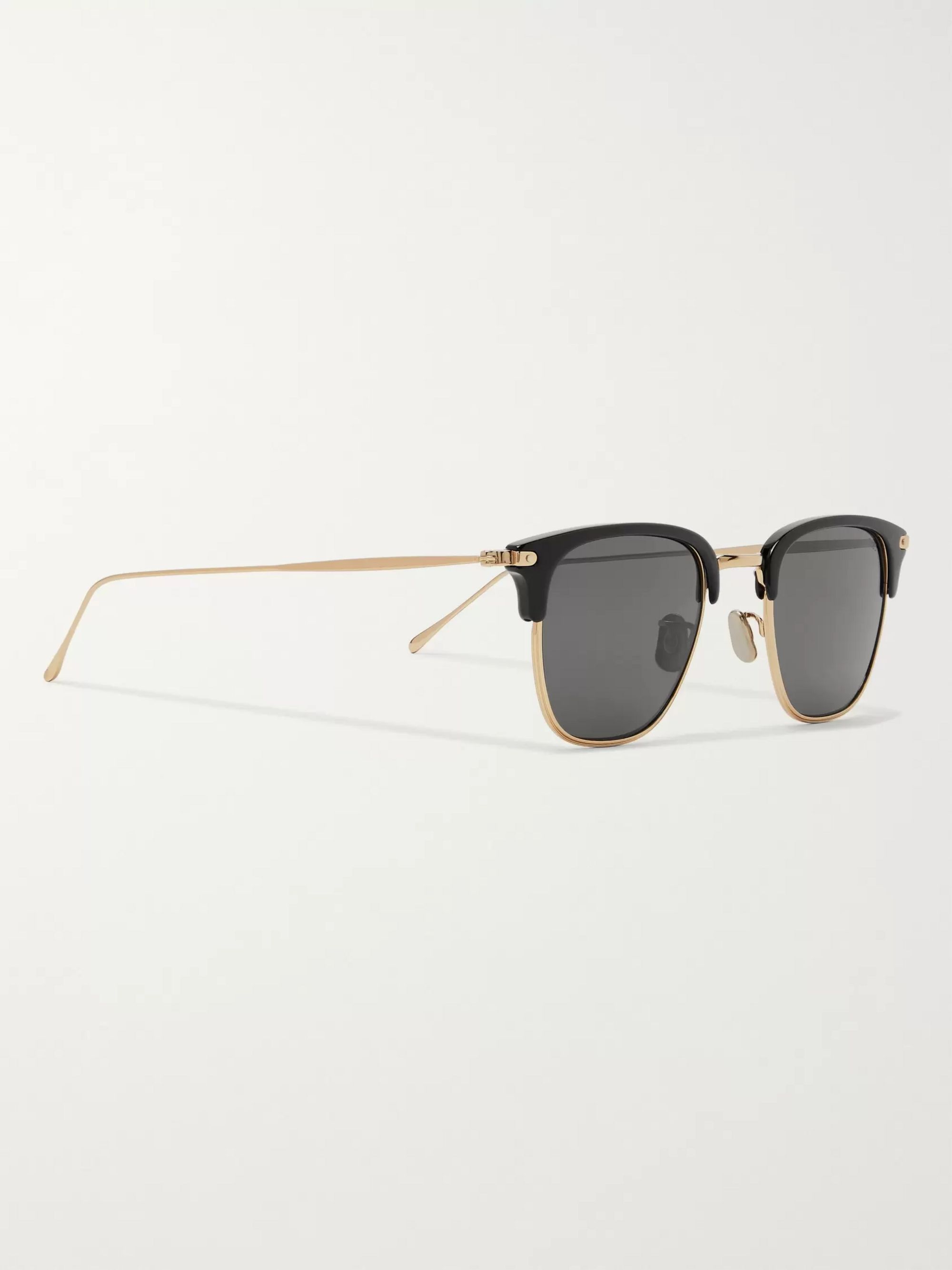 Eyevan 7285 Square-Frame Acetate and Gold-Tone Sunglasses