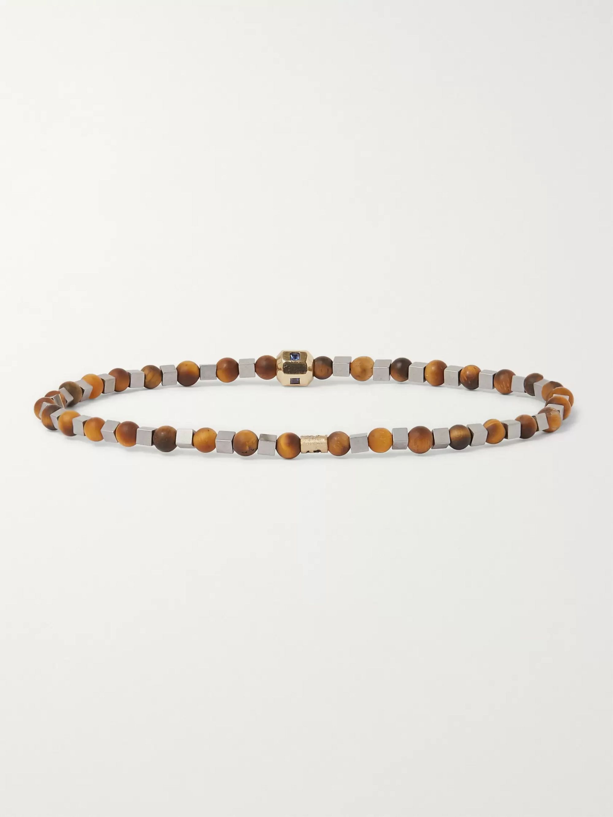 Luis Morais Tiger's Eye, Gold and Sapphire Bracelet