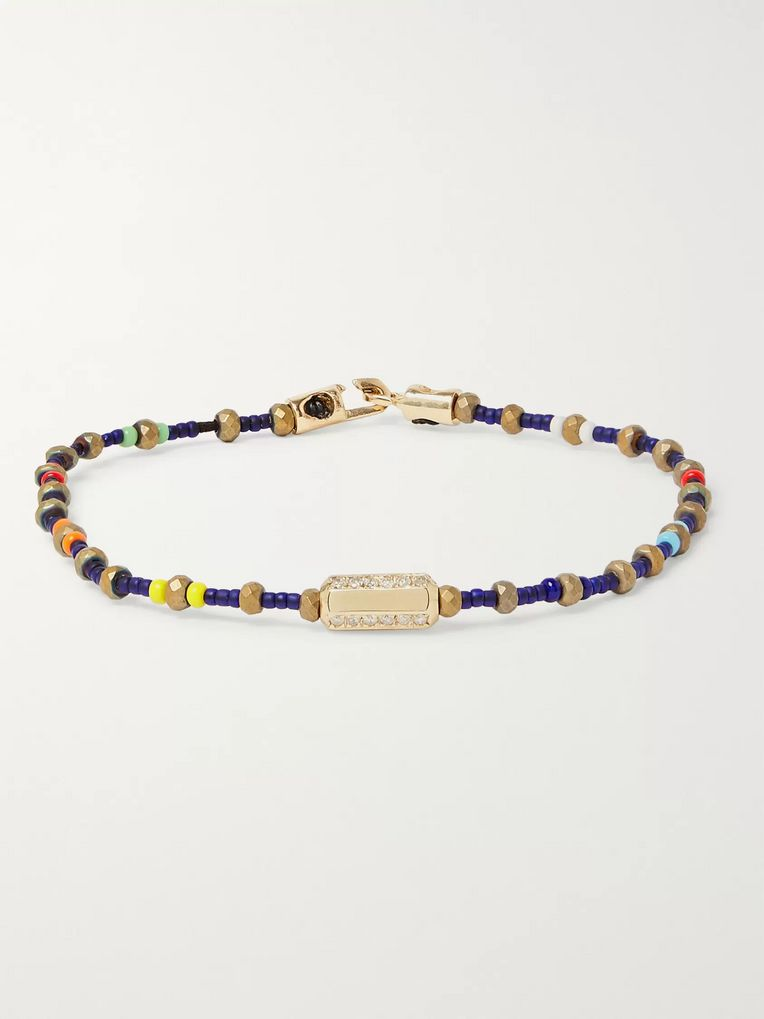 Luis Morais Bead, Gold and Diamond Bracelet