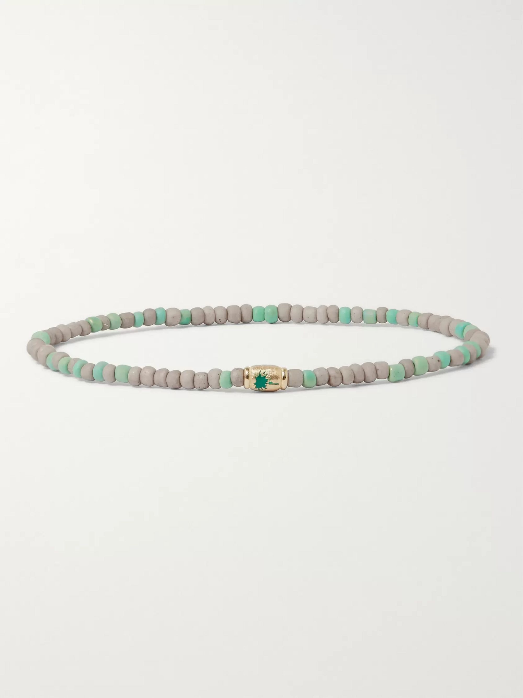 Luis Morais Bead, Enamel and Gold Bracelet