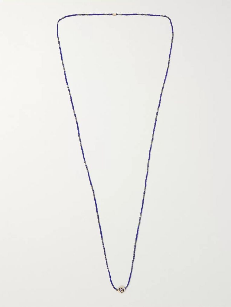 Luis Morais Bead, Enamel and Gold Necklace