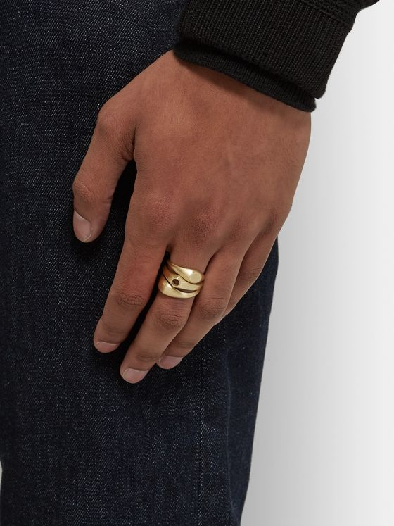 M.Cohen Stack 2 Set of Three Brushed 18-Karat Gold Rings