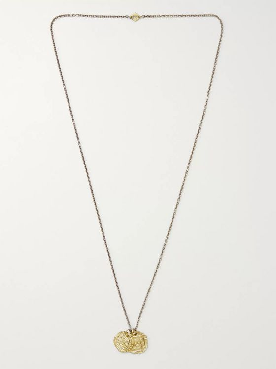 M.Cohen Oxidised Silver, Gold and Diamond Necklace