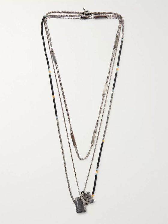 M.Cohen Set of Three Oxidised Sterling Silver and Multi-Stone Necklaces