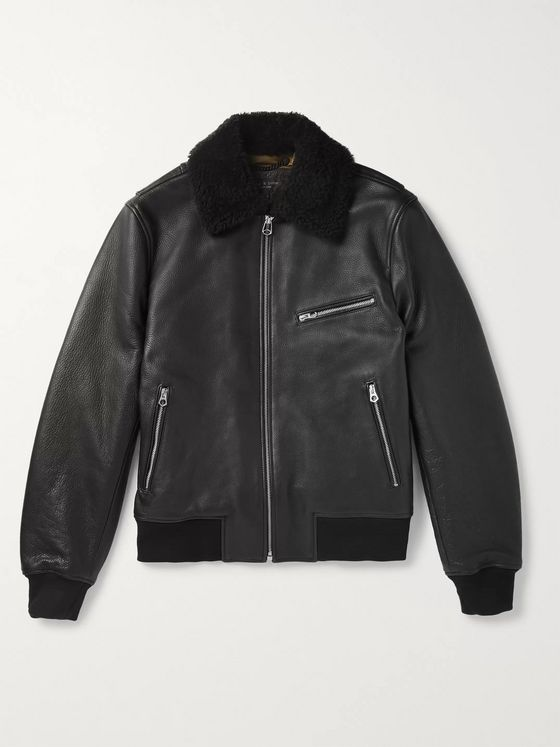 rag & bone Shearling-Trimmed Leather Aviator Jacket