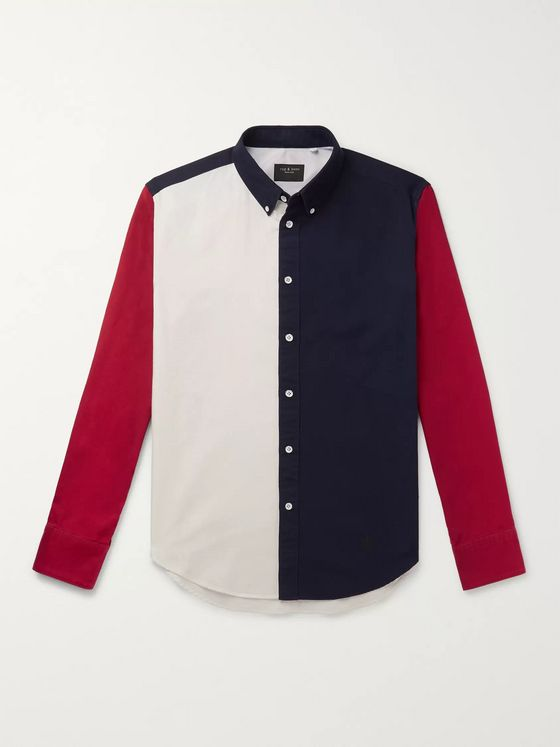 rag & bone Tomlin Slim-Fit Button-Down Collar Colour-Block Cotton Oxford Shirt