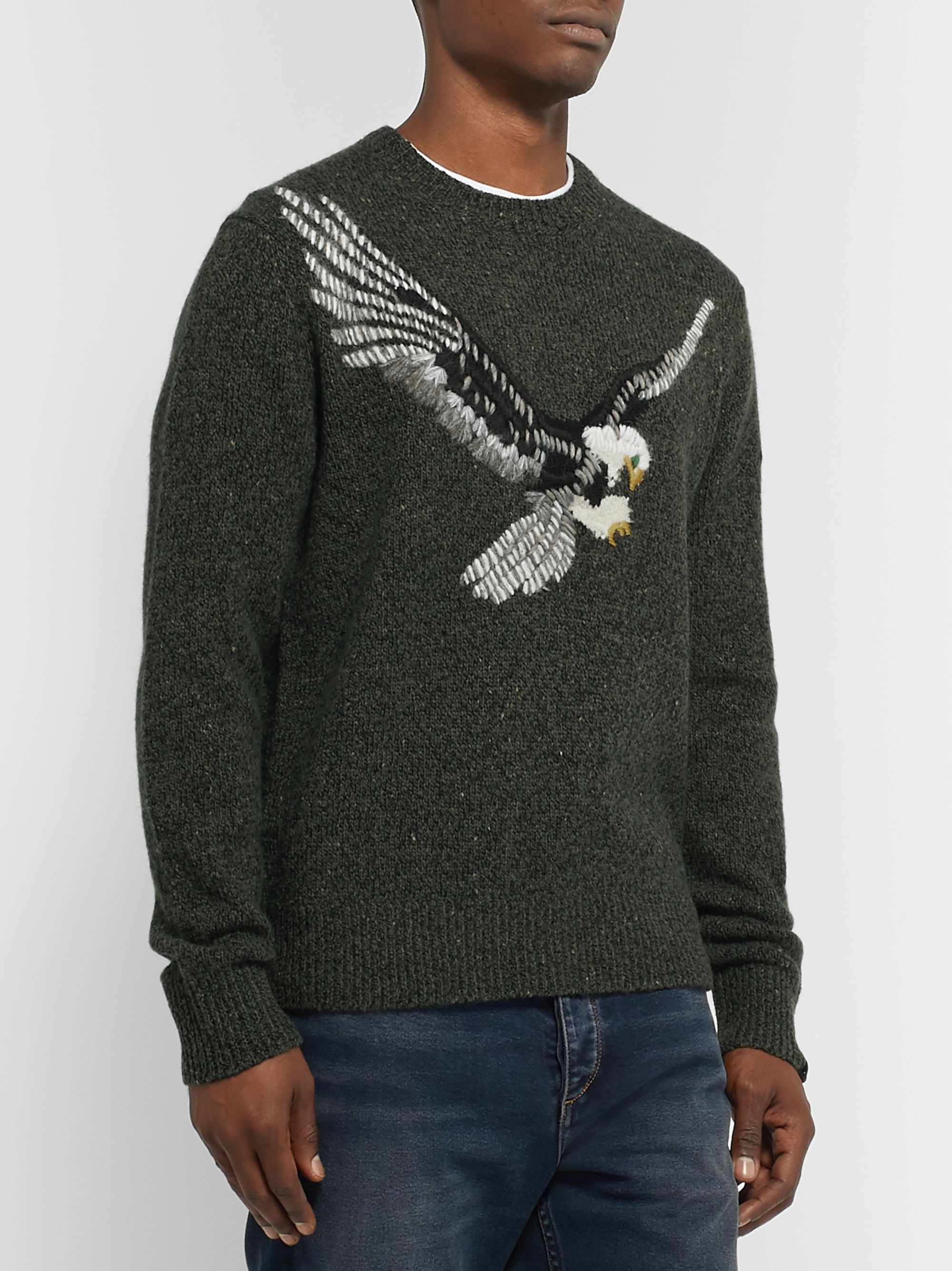 rag & bone Slim-Fit Embroidered Mélange Wool-Blend Sweater