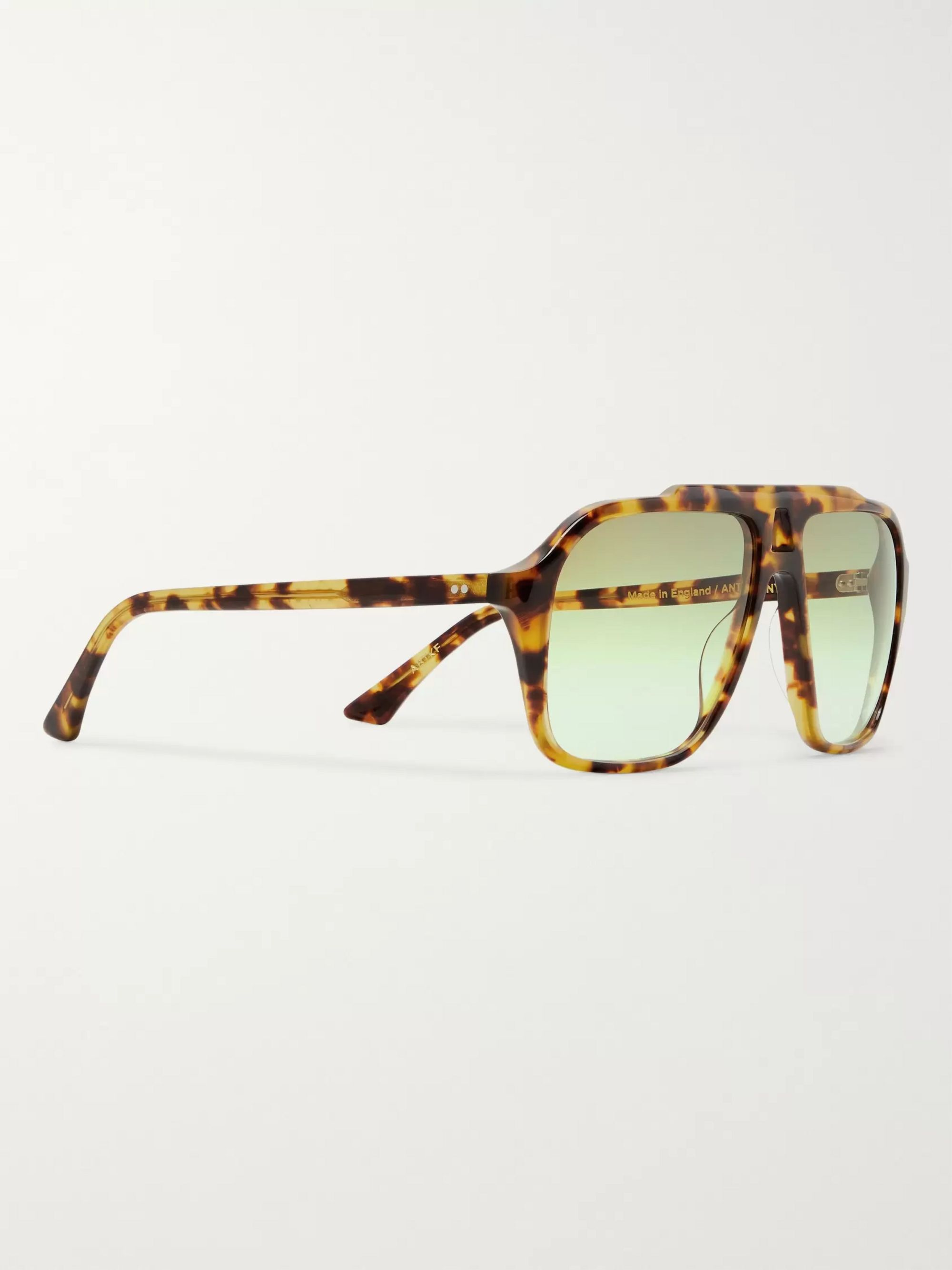 Kirk Originals Anthony Aviator-Style Tortoiseshell Acetate Sunglasses