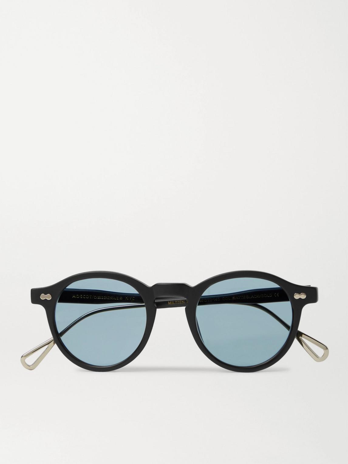 Moscot Miltzen-tt Round-frame Matte-acetate And Gold-tone Sunglasses In Black