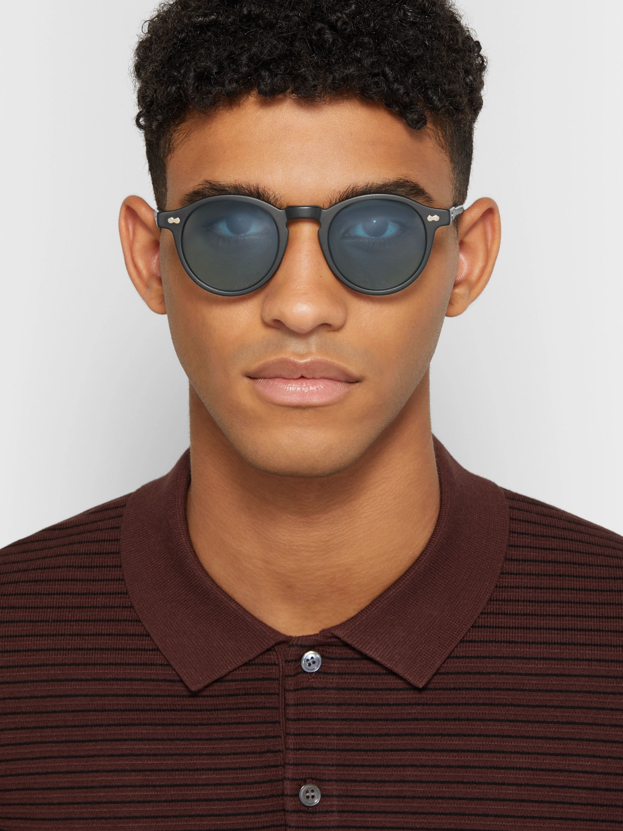 Moscot Miltzen-TT Round-Frame Matte-Acetate and Gold-Tone Sunglasses