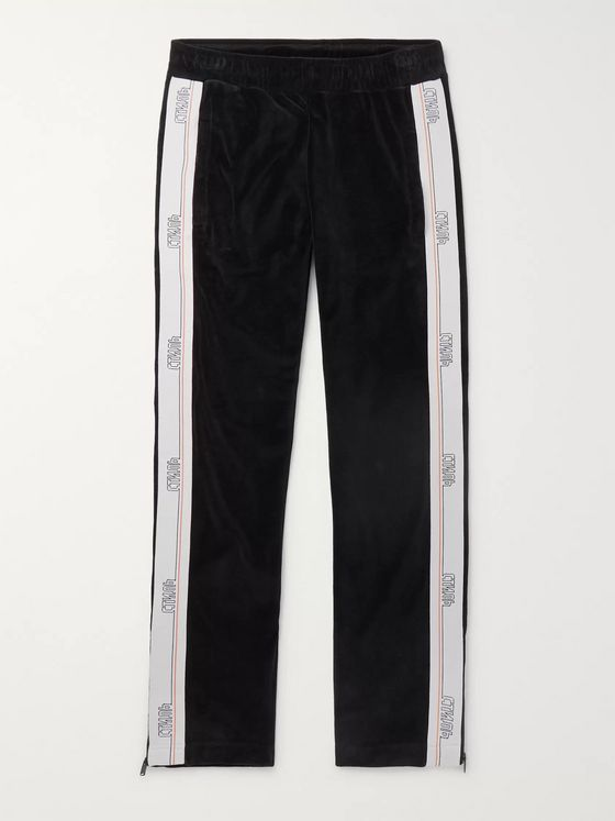 Heron Preston Logo-Webbing Trimmed Cotton-Blend Velvet Track Pants