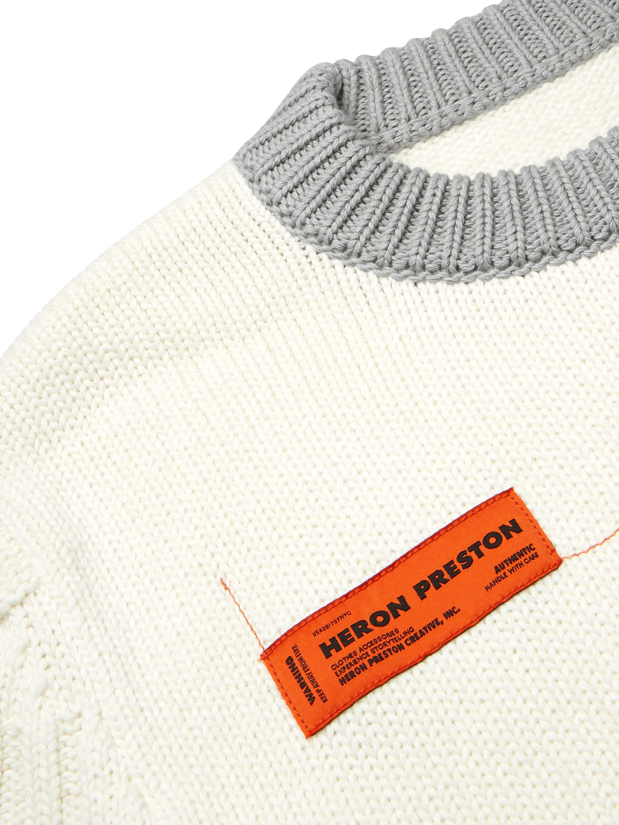Heron Preston Logo-Appliquéd Contrast-Tipped Cotton Sweater