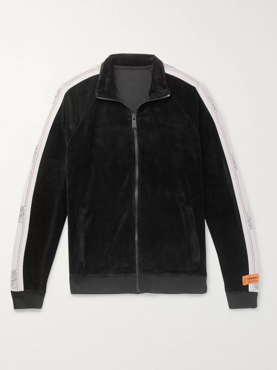 Heron Preston Logo-Webbing Trimmed Cotton-Blend Velvet Zip-Up Track Jacket