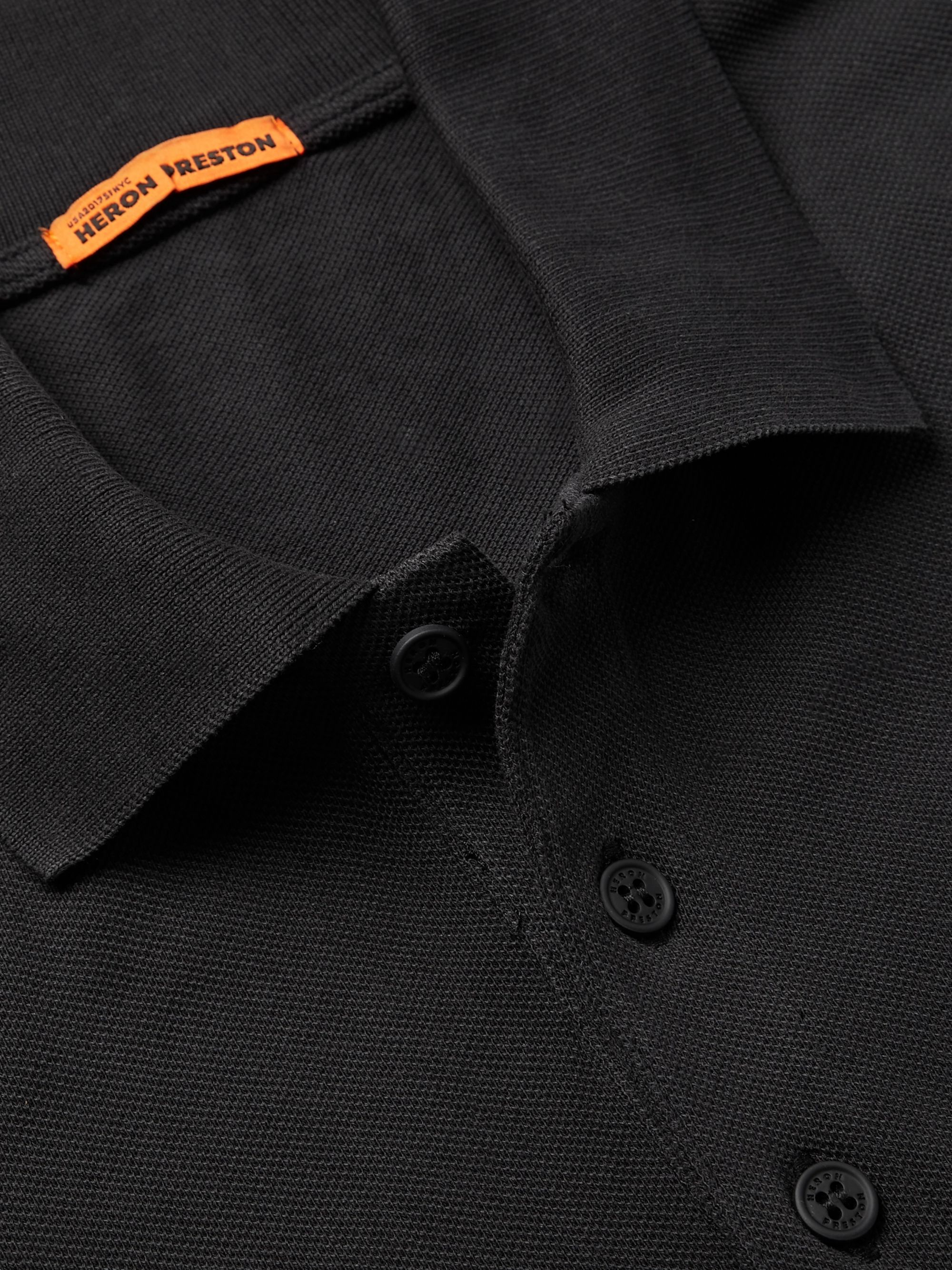 Heron Preston Logo-Detailed Cotton-Piqué Polo Shirt