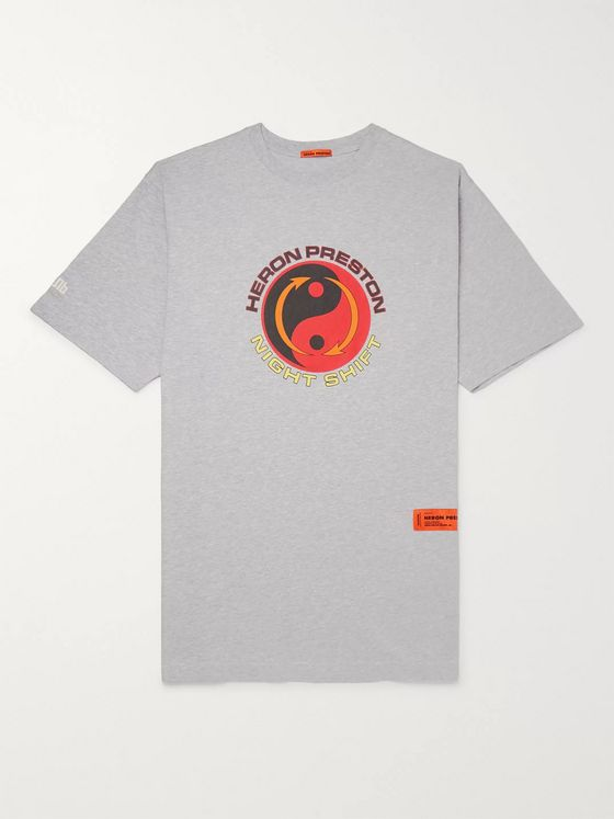 Heron Preston Printed Mélange Cotton-Jersey T-Shirt
