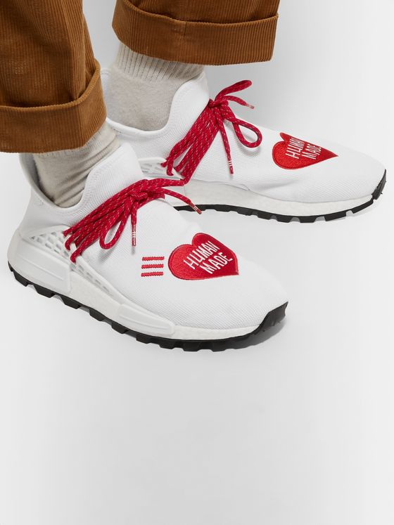 adidas Consortium + Pharrell Williams + Human Made NMD Hu Logo-Embroidered Primeknit Sneakers