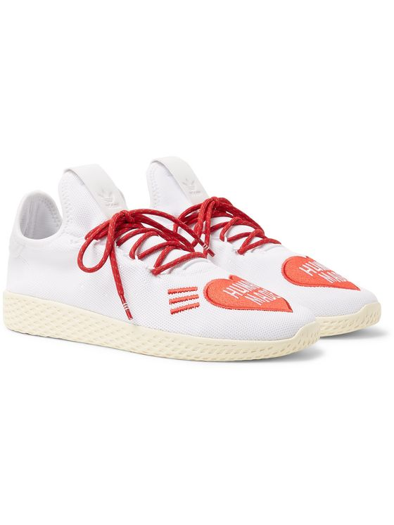 adidas Consortium + Pharrell Williams + Human Made Tennis Hu Logo-Embroidered Primeknit Sneakers