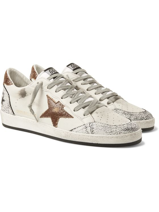 Golden Goose Ballstar Distressed Leather Sneakers