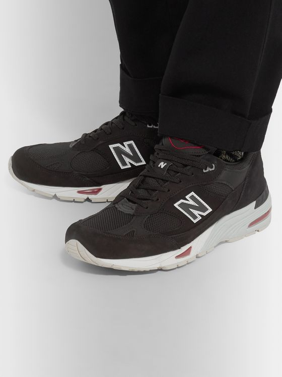 New Balance 991 Nubuck and Mesh Sneakers
