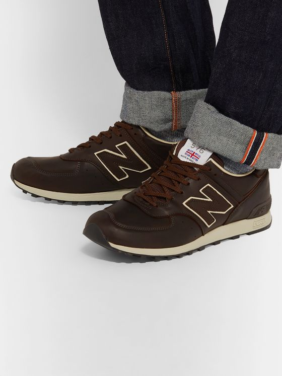 New Balance M576 Leather and Mesh Sneakers
