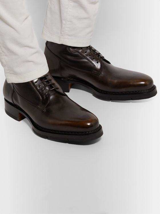 Santoni Shearling-Lined Polished-Leather Boots