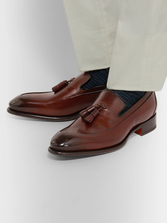 Santoni Burnished-Leather Tasselled Loafers