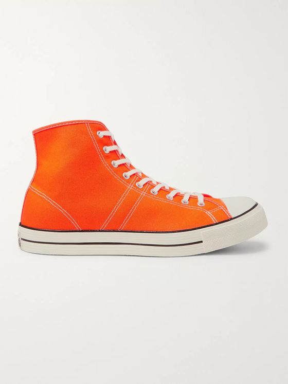 CONVERSE Lucky Star Faded Glory Rubber-Trimmed Canvas High-Top Sneakers