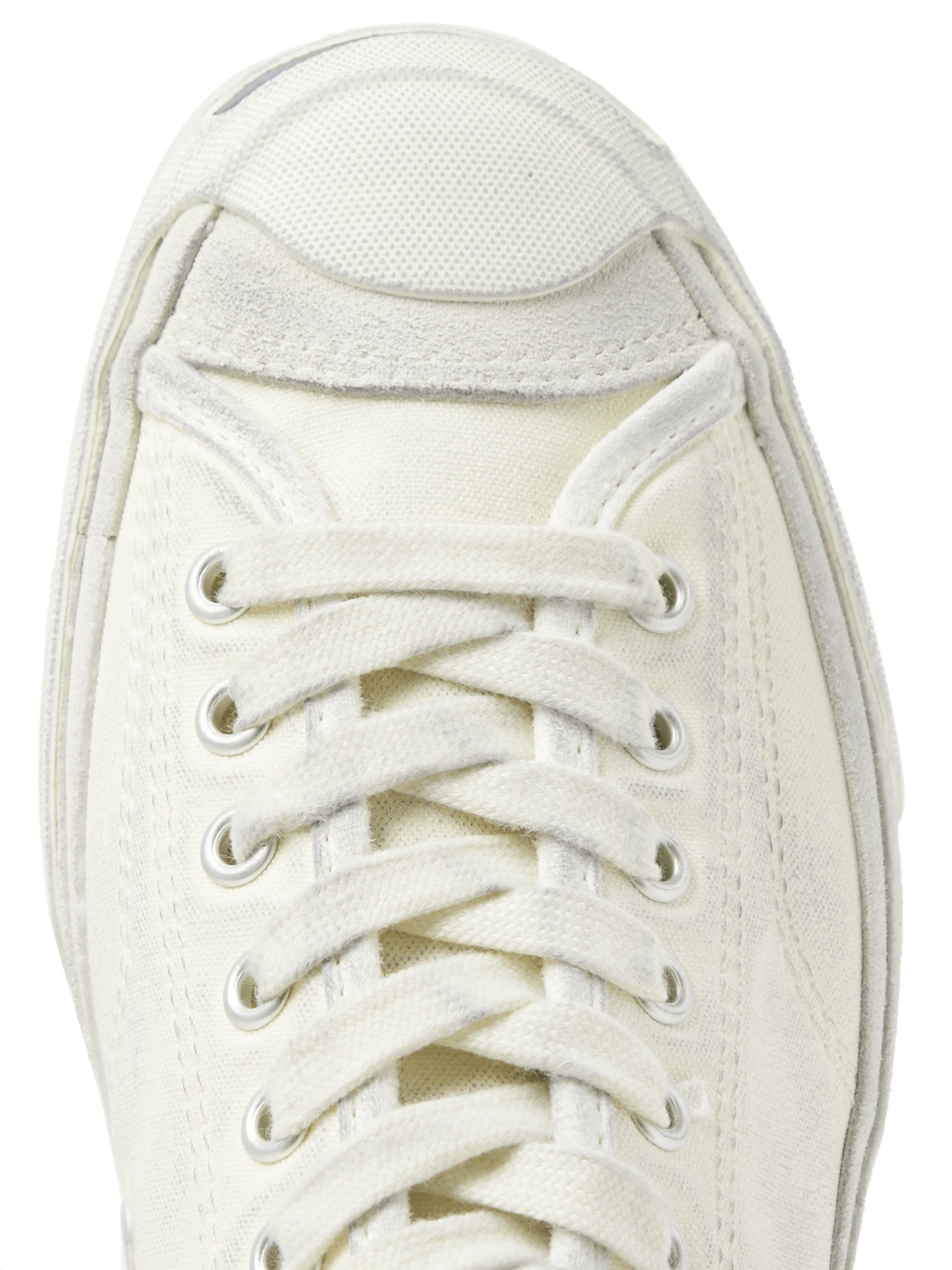 Converse Jack Purcell OX Distressed Suede-Trimmed Canvas Sneakers