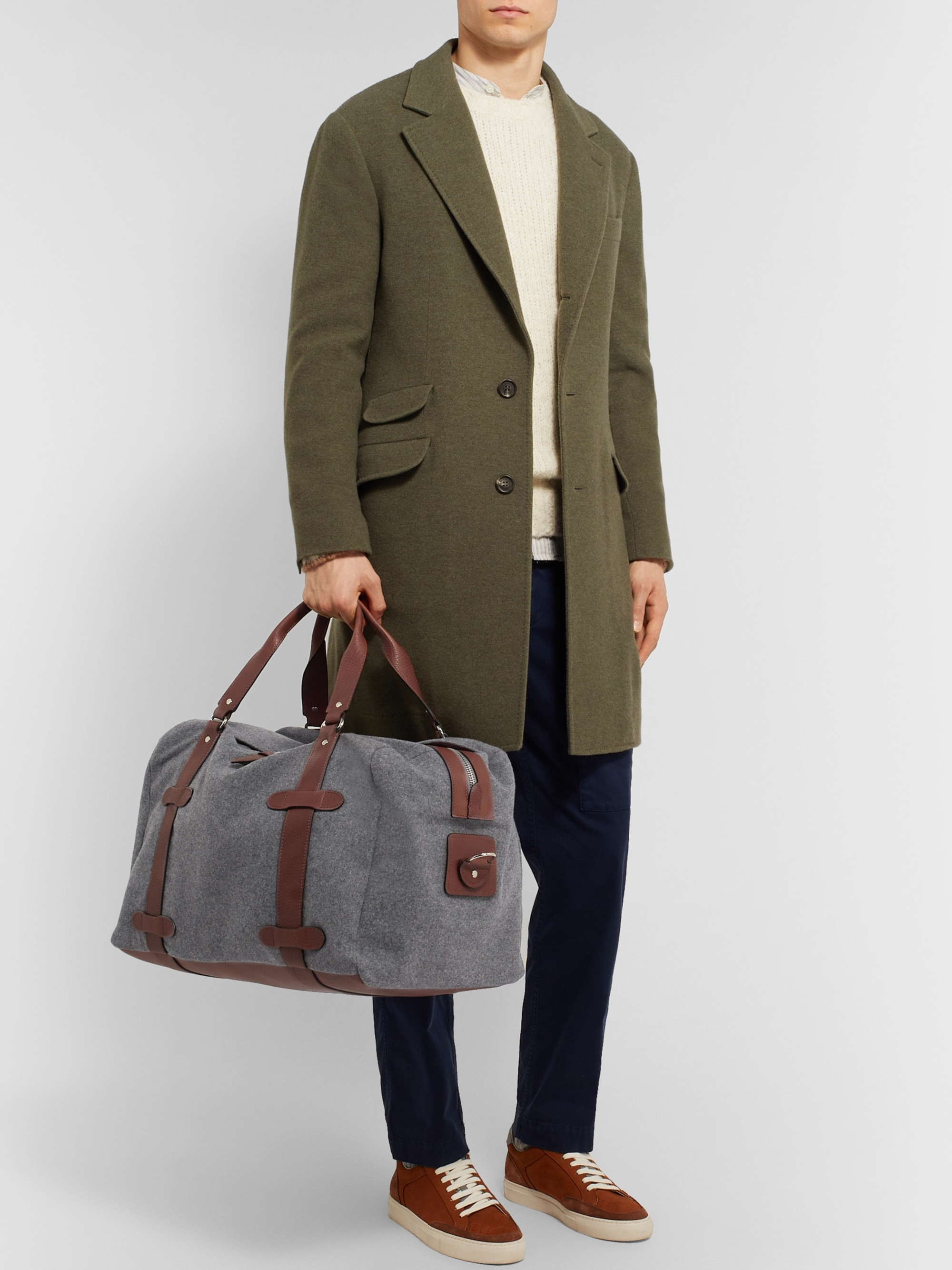 Brunello Cucinelli Leather-Trimmed Wool Holdall